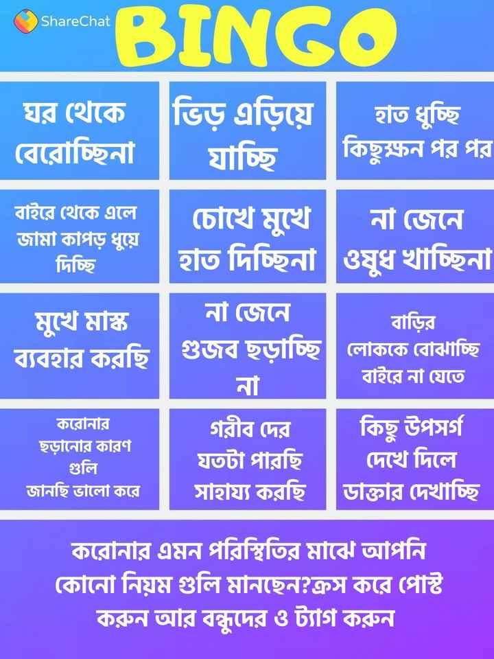 ShareChat BINGO 🤪🙊🙉🙈 - ShareChat Shantha BINGO ঘর থেকে ভিড় এড়িয়ে হাত ধুচ্ছি । বেরােচ্ছিনা   যাচ্ছি । কিছুক্ষন পর পর বাইরে থেকে এলে চোখে মুখে । না জেনে । জামা কাপড় ধুয়ে দিচ্ছি হতি দিচ্ছিনা ওষুধ খাচ্ছিনা মুখে মাস্ক ।   না জেনে । বাড়ির ব্যবহার করছি লােককে বােঝাচ্ছি বাইরে না যেতে করোনার ছড়ানাের কারণ গুলি জানছি ভালাে করে । গরীব দের কিছু উপসর্গ যতটা পারছি । দেখে দিলে সাহায্য করছি ডাক্তার দেখাচ্ছি করােনার এমন পরিস্থিতির মাঝে আপনি কোনাে নিয়ম গুলি মানছেন ? ক্রস করে পোষ্ট করুন আর বন্ধুদের ও ট্যাগ করুন । - ShareChat