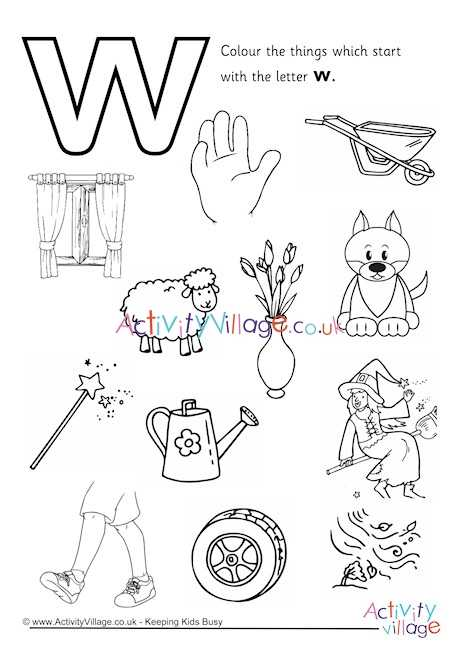🔠 W અક્ષરકળા - Colour the things which start with the letter w . M ODD Metectivity Village . co . ummo 00 10 www . Activityillage . co . uk - Keeping Kids Busy Activity - village - ShareChat
