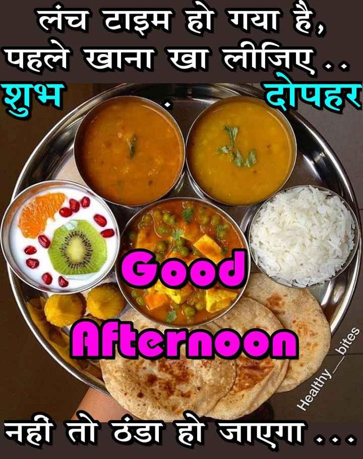 🎥WhatsApp वीडियो - लंच टाइम हो गया है , पहले खाना खा लीजिए . . शुभ दोपहर Good Afternoon Healthy _ bites नहीं तो ठंडा हो जाएगा . . . - ShareChat