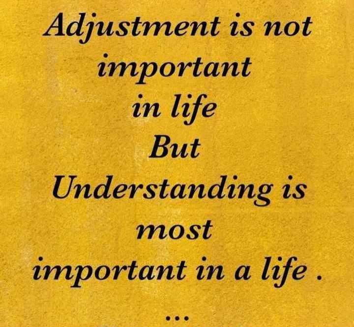 📜 Whatsapp स्टेटस - Adjustment is not important in life But Understanding is most important in a life . - ShareChat