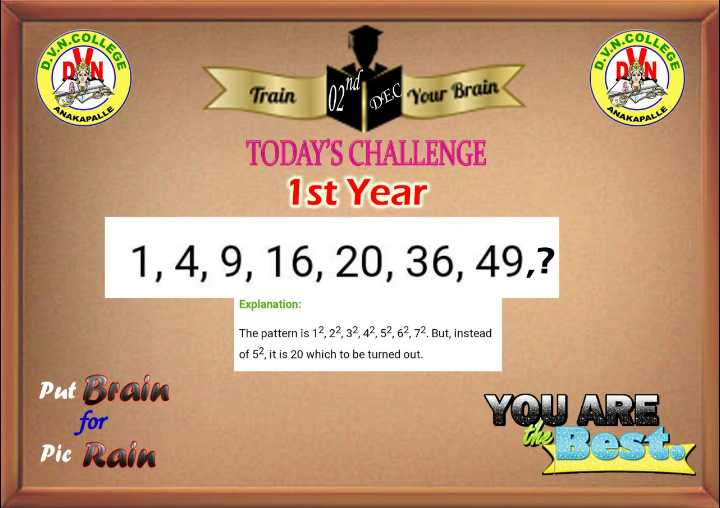 🤳Whatsapp DP - COLLS COLL EGE Train DE Your Brain TODAY ' S CHALLENGE 1st Year 1 , 4 , 9 , 16 , 20 , 36 , 49 , ? Explanation : The pattern is 12 , 22 , 32 , 42 , 52 , 62 , 72 . But , instead of 52 , it is 20 which to be turned out . Put Brain for Pic Rain YOU - ShareChat