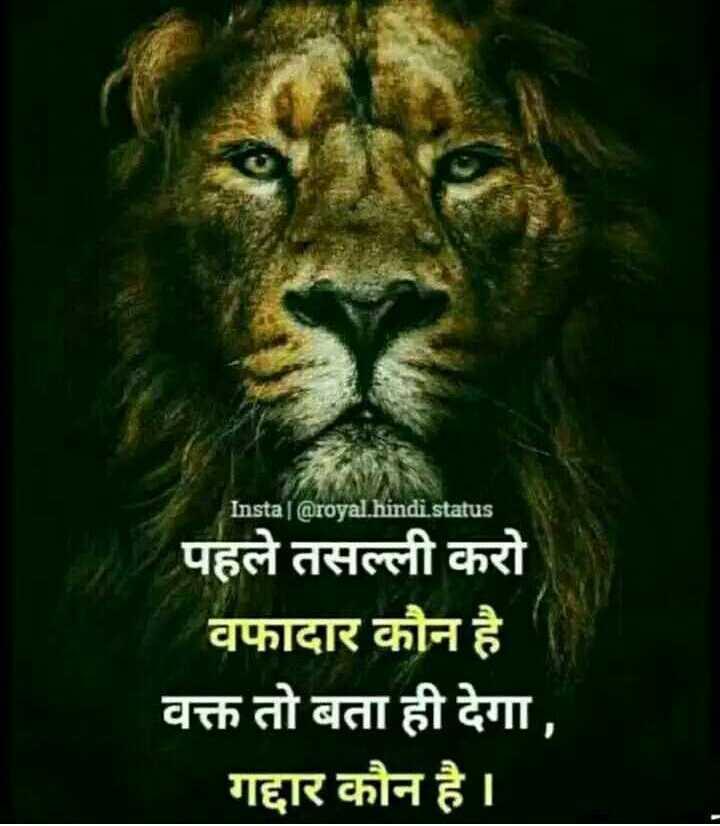 🎭Whatsapp status - - Instal @ royal . hindi . status पहले तसल्ली करो _ _ _ वफादार कौन है वक्त तो बता ही देगा , गद्दार कौन है । - ShareChat