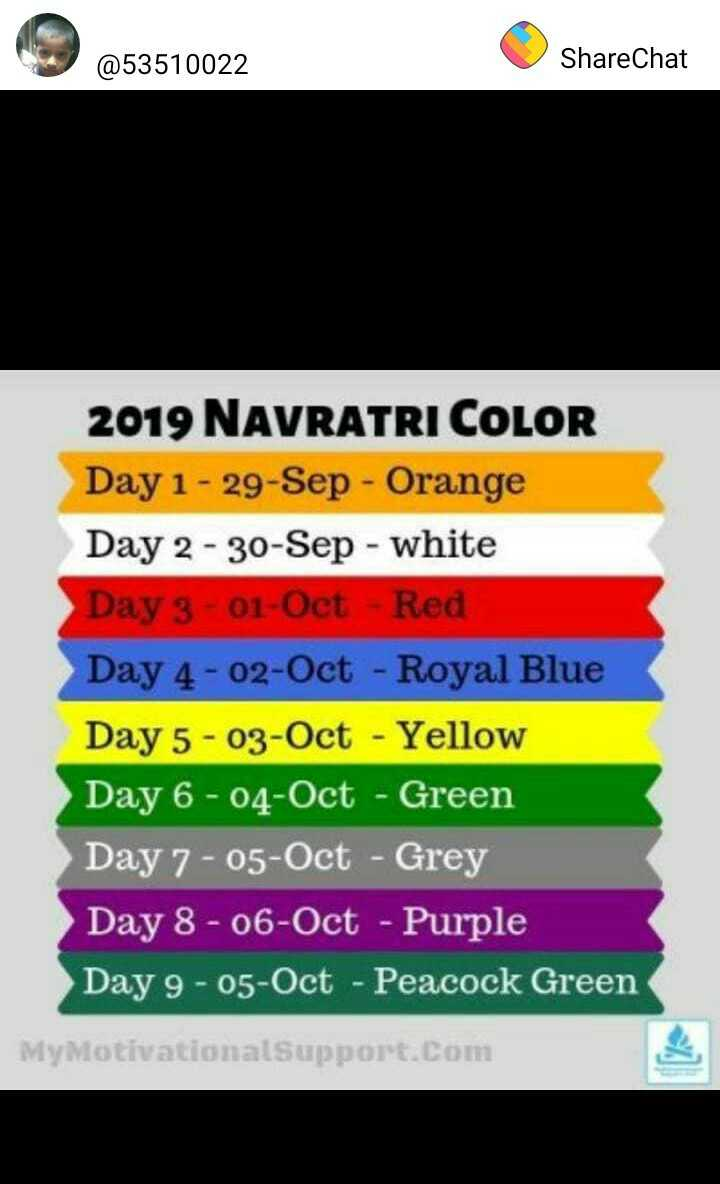 🎭Whatsapp status - @ 53510022 ShareChat ShareChat 2019 NAVRATRI COLOR Day 1 - 29 - Sep - Orange Day 2 - 30 - Sep - white Day 3 - 01 - Oct - Red Day 4 - 02 - Oct - Royal Blue Day 5 - 03 - Oct - Yellow Day 6 - 04 - Oct - Green Day 7 - 05 - Oct - Grey Day 8 - 06 - Oct - Purple Day 9 - 05 - Oct - Peacock Green MyMotivational Support . Com - ShareChat
