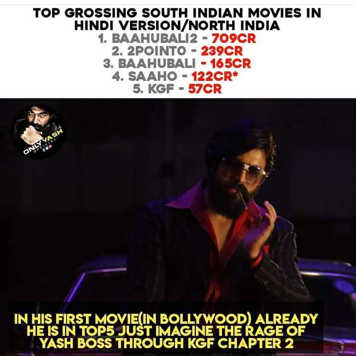 🤴 Yash - TOP GROSSING SOUTH INDIAN MOVIES IN HINDI VERSION / NORTH INDIA 1 . BAAHUBALI2 - 709CR 2 . 2POINTO - 239CR 3 . BAAHUBALI - 165CR 4 . SAAHO - 122CR * 5 . KGF - 57CR ONLY YASH IN HIS FIRST MOVIE ( IN BOLLYWOOD ) ALREADY HE IS IN TOP5 JUST IMAGINE THE RAGE OF YASH BOSS THROUGH KGF CHAPTER 2 - ShareChat