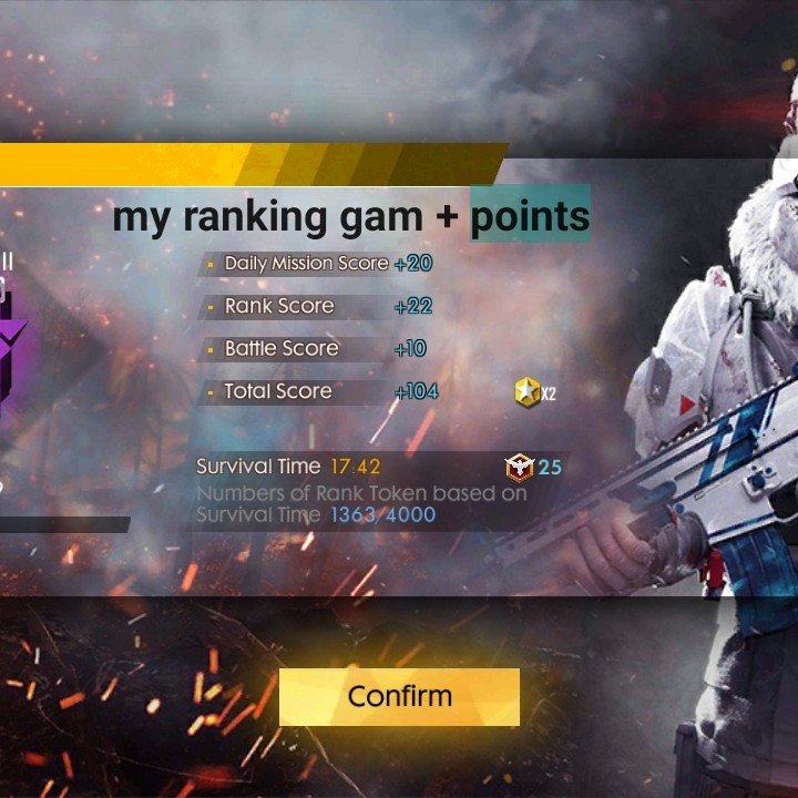 আমরা KKR - my ranking gam + points - Daily Mission Score + 20 - Rank Score + 22 - Battle Score HO - Total Score + 104 Survival Time 17 : 42 M25 Numbers of Rank Token based on Survival Time 1363 / 4000 Confirm - ShareChat