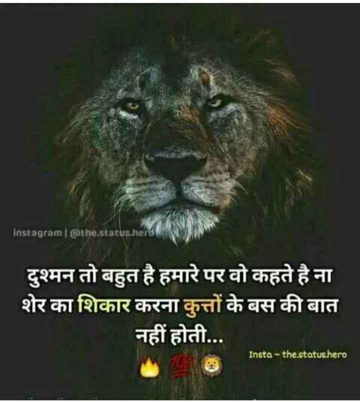 attitude👑 - instagram @ the . status . her दुश्मन तो बहुत है हमारे पर वो कहते है ना शेर का शिकार करना कुत्तों के बस की बात नहीं होती . . . Insta - the status . hero - ShareChat