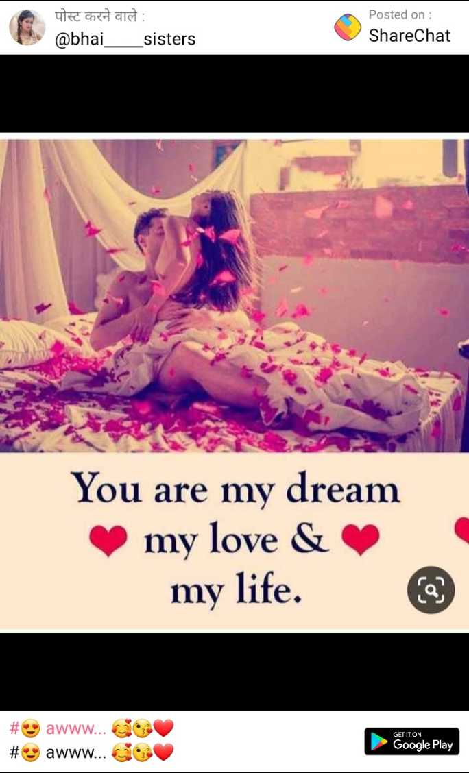 😍 awww... 🥰😘❤️ - पोस्ट करने वाले : @ bhai _ _ sisters Posted on : ShareChat You are my dream my love & my life . # # awww . . . awww . . . CO Google Play - ShareChat