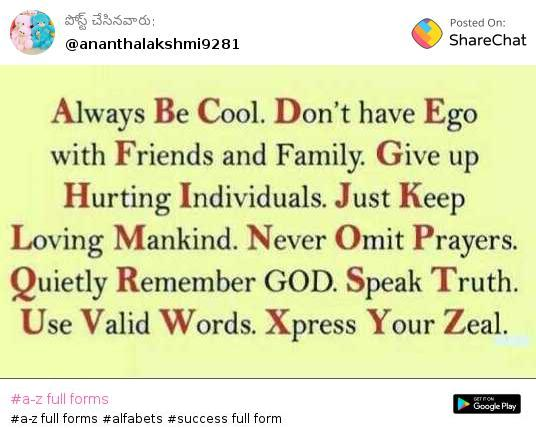 A Z Full Forms Images Ananthalakshmi Sharechat India S Own Indian Social Network