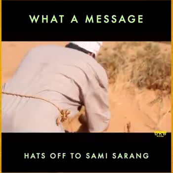 message - WHAT A MESSAGE HATS OFF TO SAMI SARANG WHAT A MESSAGE A drop of water is worth more than a sack of gold to a thirsty man . ' HATS OFF TO SAMI SARANG - ShareChat