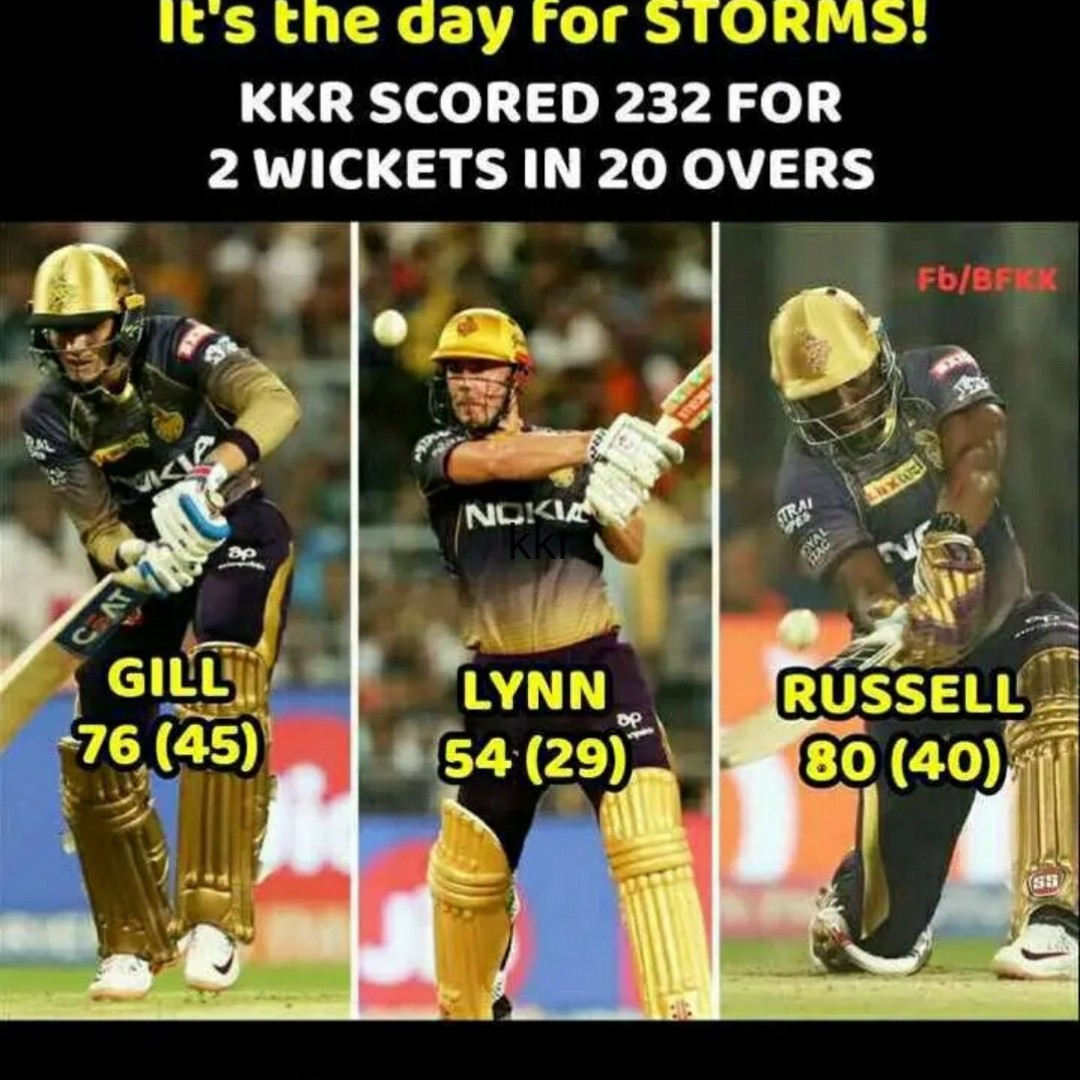 KKR vs MI - It ' s the day For STORMS ! KKR SCORED 232 FOR 2 WICKETS IN 20 OVERS Fb / BFKK NOKIA GILL op 76 ( 45 ) LYNN 54 ( 29 ) RUSSELL 80 ( 40 ) - ShareChat