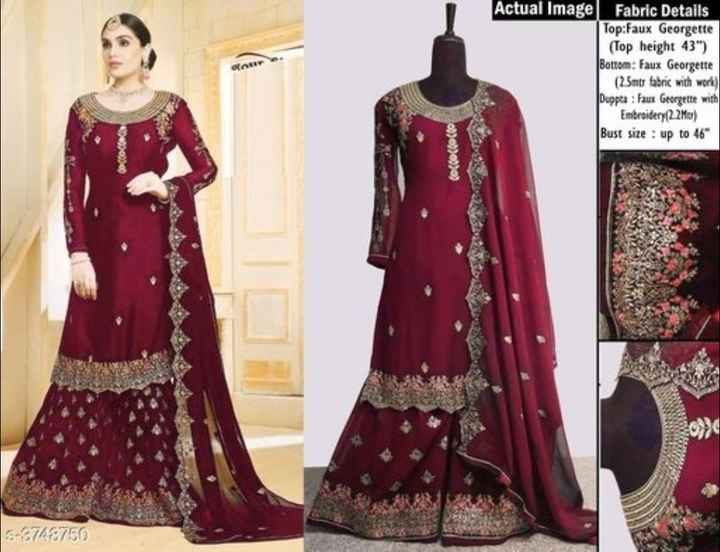 beautiful dress - on Actual Imagel Fabric Details Top : Faux Georgette ( Top height 43 ) Bottom : Faux Georgette ( 25mtr fabric with work ) Duppta : Faux Georgette with Embroidery ( 22M01 ) Bust Size : up to 46 ( ococto co S - 8768750 - ShareChat