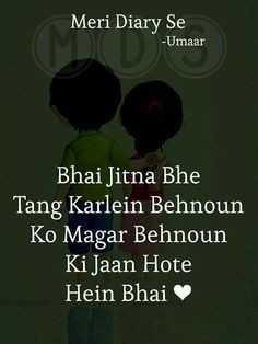 bhai behen ka pyar - Meri Diary Se - Umaar Bhai Jitna Bhe Tang Karlein Behnoun Ko Magar Behnoun Ki Jaan Hote Hein Bhai - ShareChat