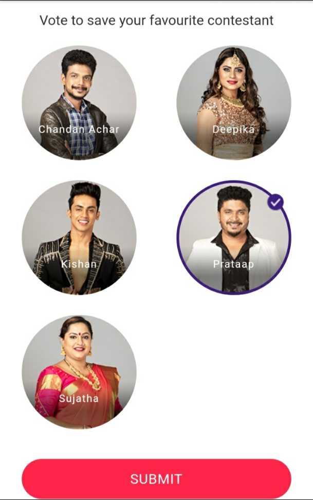 bigg boss - Vote to save your favourite contestant Chandan Achar Deepika X Kishan Prataap Sujatha SUBMIT - ShareChat