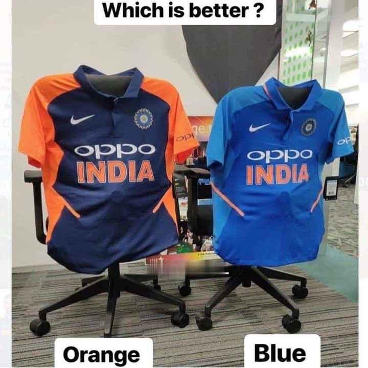 🧡 bleed orange (ਇੰਡੀਆ ਟੀਮ ਦੀ ਨਵੀਂ ਜਰਸੀ) - Which is better ? סככס Oppo INDIA INDIA Orange Blue - ShareChat