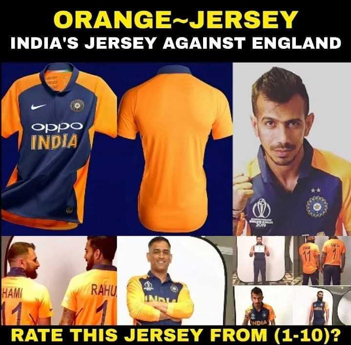 🧡 bleed orange (ਇੰਡੀਆ ਟੀਮ ਦੀ ਨਵੀਂ ਜਰਸੀ) - ORANGE JERSEY INDIA ' S JERSEY AGAINST ENGLAND oppo INDIA HAM RAHU INDLA RATE THIS JERSEY FROM ( 1 - 10 ) ? - ShareChat
