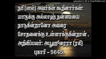🕍 அல்லாவின் அருட்கொடை - uploaded in HD @ TunesToTube . com நபி ( ஸல் ) அவர்கள் கூறினார்கள் : யாருக்கு அல்லாஹ் நன்மையை நாடுகின்றானோ அவரை ' சோதனைக்கு உள்ளாக்குகின்றான் . ' அறிவிப்பவர் : அபூஹுரைரா ( ரலி ) - புகாரி - 5645 . uploaded in HD @ TunesToTube . com நபி ( ஸல் ) அவர்கள் கூறினார்கள் : யாருக்கு அல்லாஹ் நன்மையை நாடுகின்றானோ அவரை ' சோதனைக்கு உள்ளாக்குகின்றான் . ' அறிவிப்பவர் : அபூஹுரைரா ( ரலி ) - புகாரி - 5645 . - ShareChat