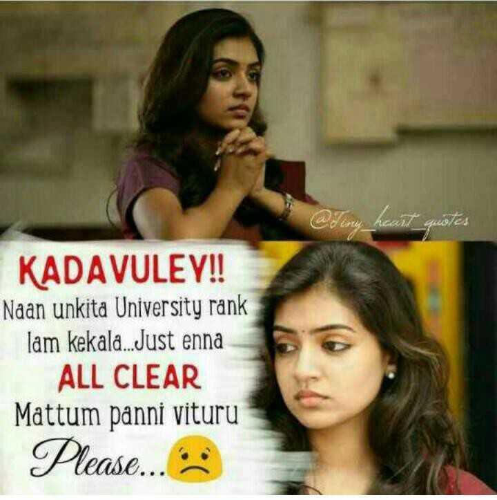 college life - @ Try _ hasat quotes KADAVULEY ! ! Naan unkita University rank lam kekala . . Just enna ALL CLEAR Mattum panni vituru Please . . . . - ShareChat