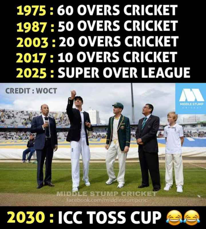 cricket ಅಡ್ಡ.... - 1975 : 60 OVERS CRICKET 1987 : 50 OVERS CRICKET 2003 : 20 OVERS CRICKET 2017 : 10 OVERS CRICKET 2025 : SUPER OVER LEAGUE CREDIT : WOCT MIDDLE STUMP CCT MIDDLE STUMP CRICKE facebook . com / middlestumpcric | _ 2030 : ICC TOSS CUP 23 - ShareChat