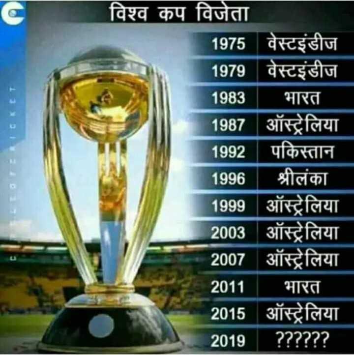 cricket ki duniya me - LOTERICKET विश्व कप विजेता ' 1975 वेस्टइंडीज 1979 वेस्टइंडीज 1983 । भारत 1987   ऑस्ट्रेलिया 1992   पकिस्तान 1996   श्रीलंका 1999 ऑस्ट्रेलिया 2003 ऑस्ट्रेलिया 2007 ऑस्ट्रेलिया 2011 । भारत 2015 ऑस्ट्रेलिया 2019   ? ? ? ? ? ? - ShareChat
