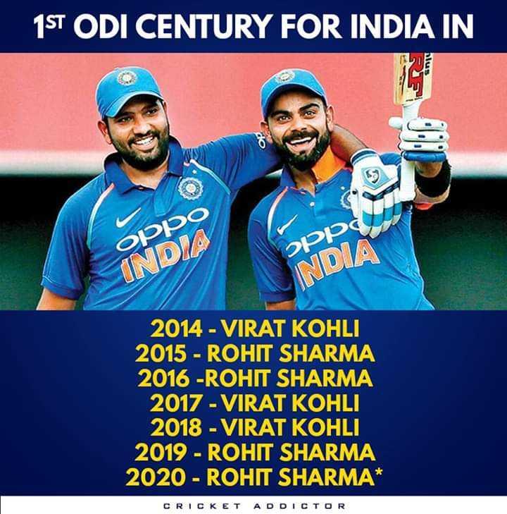 cricket legend's - 1ST ODI CENTURY FOR INDIA IN oppo INDIA oppo INDIA 2014 - VIRAT KOHLI 2015 - ROHIT SHARMA 2016 - ROHIT SHARMA 2017 - VIRAT KOHLI 2018 - VIRAT KOHLI 2019 - ROHIT SHARMA 2020 - ROHIT SHARMA * CRICKET ADDICTOR - ShareChat