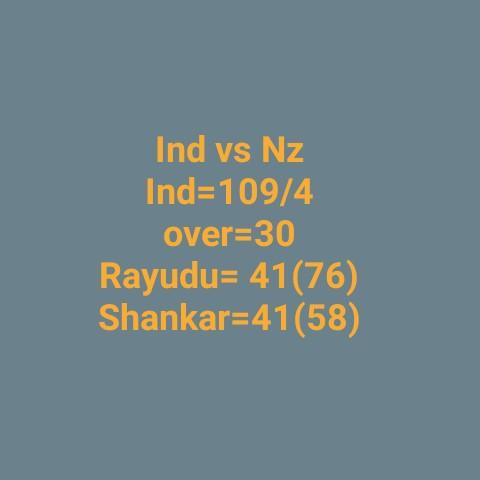 🏏न्यूजीलैंड बनाम भारत पांचवां वनडे🇮🇳 - Ind vs NZ Ind = 109 / 4 over = 30 Rayudu = 41 ( 76 ) Shankar = 41 ( 58 ) - ShareChat