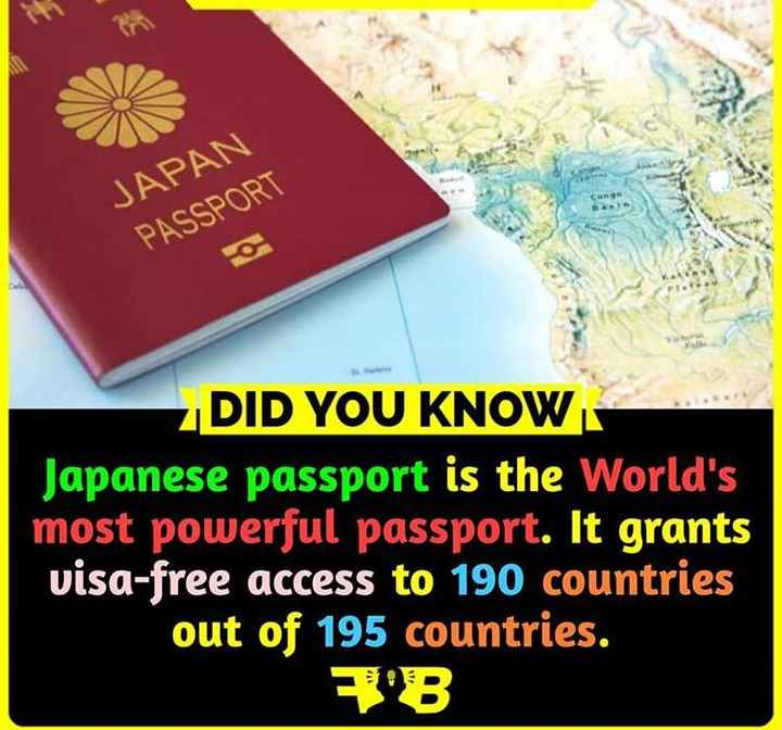 did you know?? - JAPAN PASSPORT DID YOU KNOW Japanese passport is the World ' s most powerful passport . It grants visa - free access to 190 countries out of 195 countries . - ShareChat