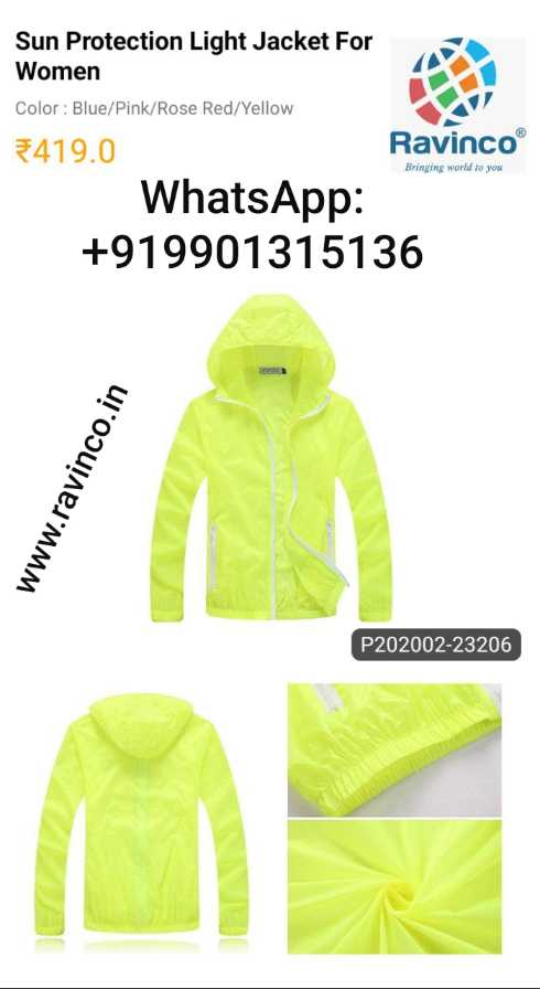 dress - Sun Protection Light Jacket For Women Color : Blue / Pink / Rose Red / Yellow Bringing world to you 419 . 0 Ravinco® WhatsApp : + 919901315136 www . ravinco . in P202002 - 23206 - ShareChat