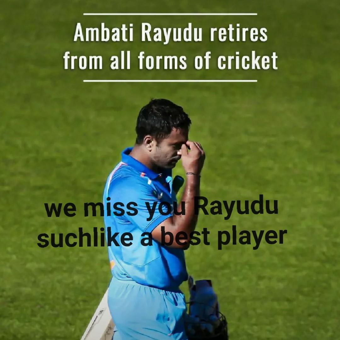 अंबाती रायडू का संन्यास 🏏 - Ambati Rayudu retires from all forms of cricket we miss you Rayudu suchlike a best player - ShareChat