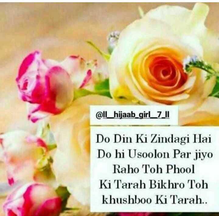 ebadat🤲 - @ IL _ hijaab _ girl _ 7 _ II Do Din Ki Zindagi Hai Do hi Usoolon Par jiyo Raho Toh Phool Ki Tarah Bikhro Toh khushboo Ki Tarah . . - ShareChat