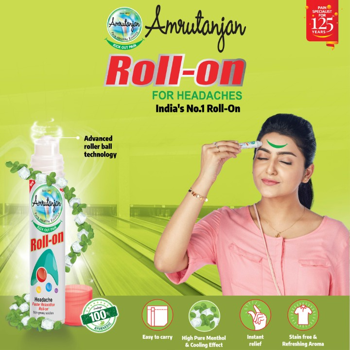 medical - PAIN SPECIALIST • FOR YEARS 9 Amoutarjan Roll - on HICK OUT PA FOR HEADACHES India ' s No . 1 Roll - On Advanced roller ball technology Amrutanian TICKOUT DE Roll - on Headache Faster Aslaration Roll Nos solen 100 % Easy to carry High Pure Menthol & Cooling Effect Instant relief Stain free & Refreshing Aroma - ShareChat