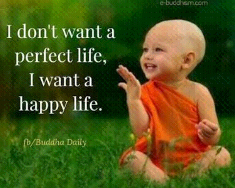 Gouthama Buddha - e - buddhism . com I don ' t want a perfect life , I want a happy life . fb / Buddha Daily - ShareChat