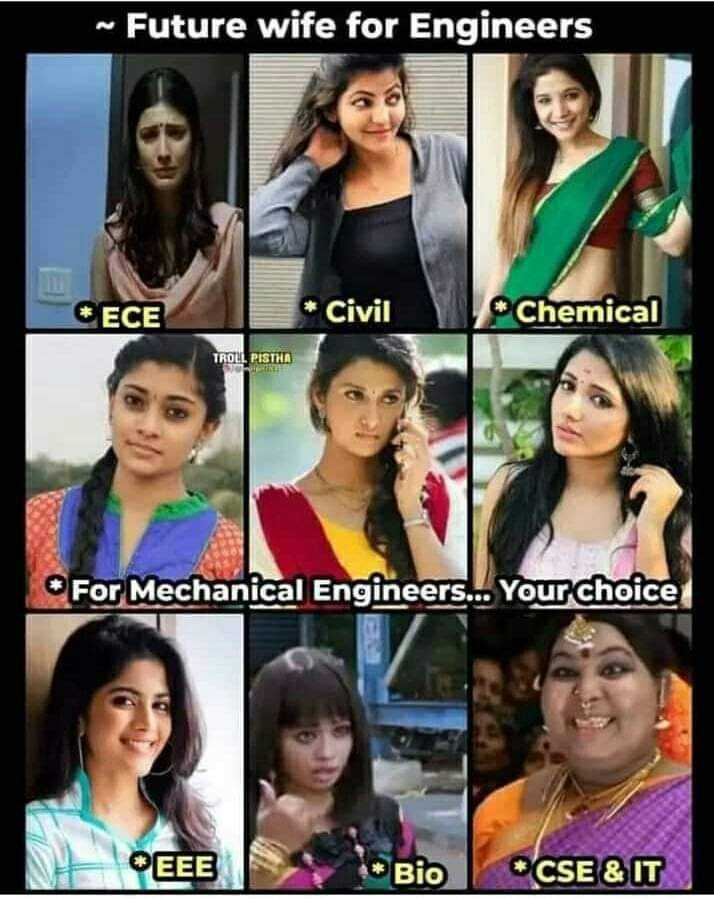 engineers - ~ Future wife for Engineers * ЕСЕ * Civil Chemical TROLL PISTHA For Mechanical Engineers . . . Your choice EEE * Bio K CSE & IT - ShareChat