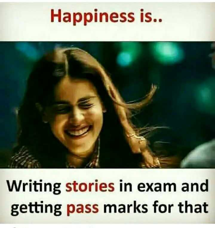 exam parithapangal - Happiness is . . Writing stories in exam and getting pass marks for that - ShareChat