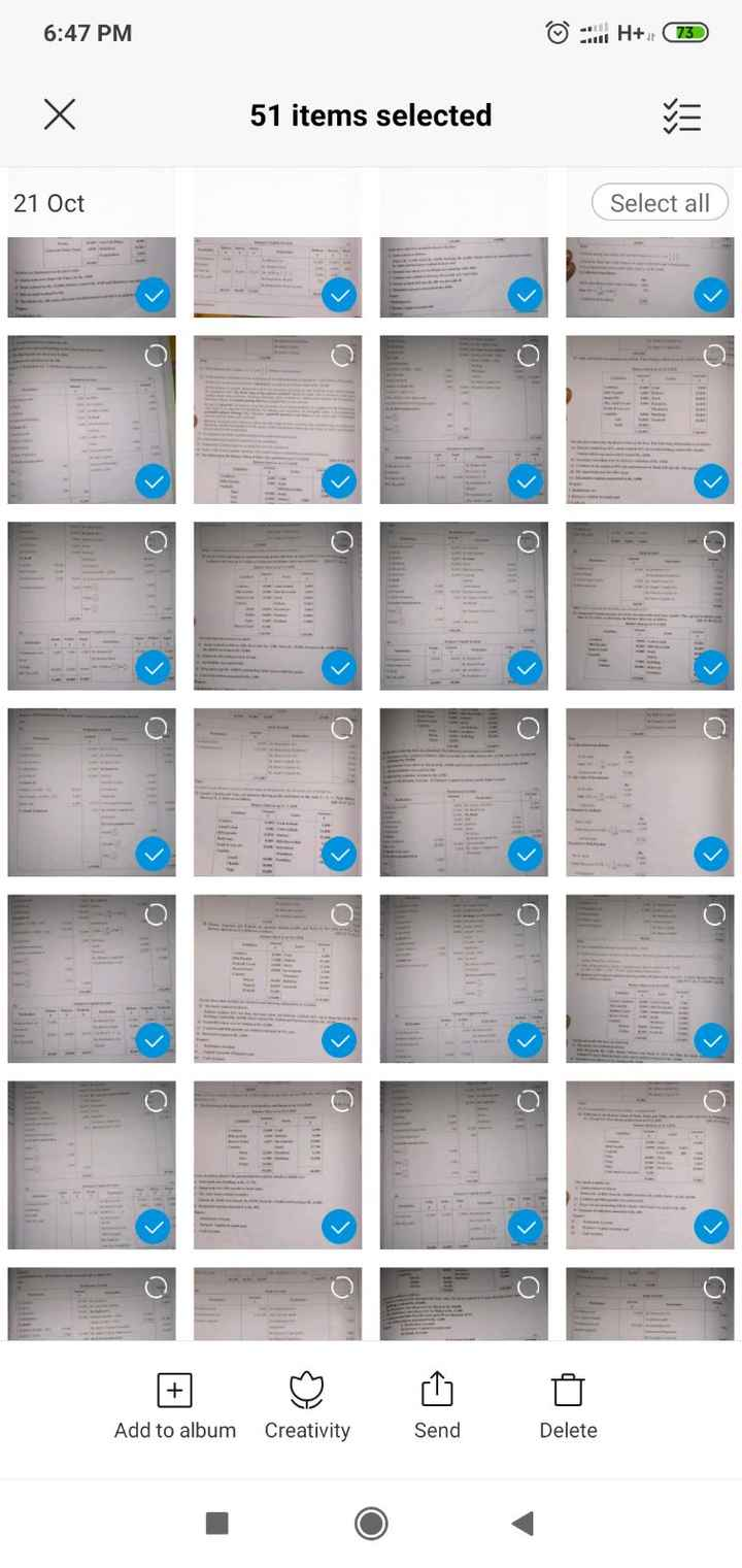 exam time - 6 : 47 PM Х 51 items selected 21 Oct Select all Ho < - Add to album Creativity Send Delete - ShareChat
