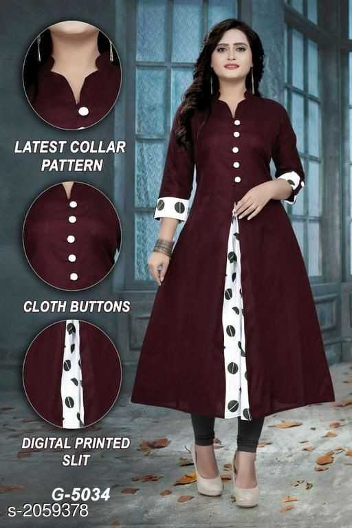 fashion - LATEST COLLAR PATTERN CLOTH BUTTONS DIGITAL PRINTED SLIT G - 5034 S - 2059378 - ShareChat