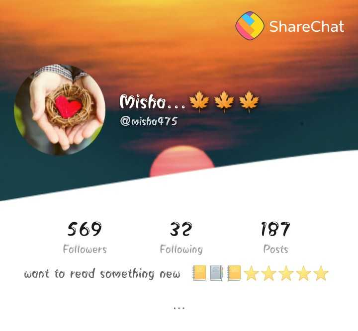 follow me 😎 - ShareChat Misho . . . @ misho975 187 569 32 Followers Following want to read something new DOL Posts * * * - ShareChat