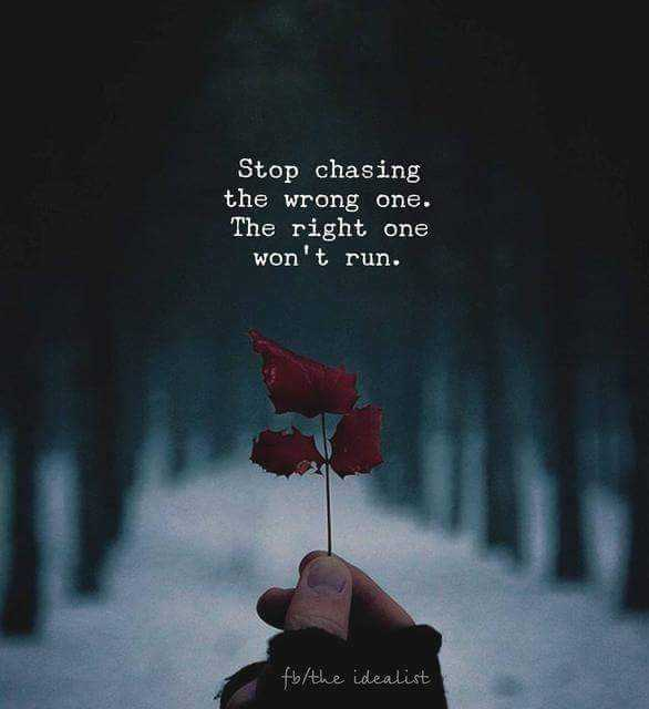 follow the good thing - Stop chasing the wrong one . The right one won ' t run . fb the idealist - ShareChat