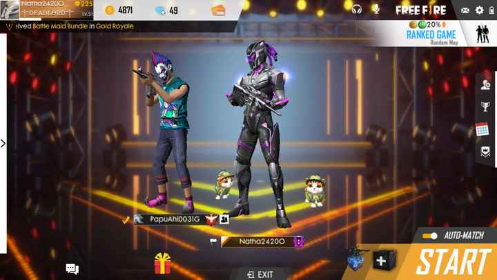 free fire - Natha24200 225 DEADLORD DEADLORD Lv . 5 48717 Lv . 51 veived Battle Maid Bundle in Gold Royale 49 FREE FIRE XBO 20 % 1 RANKED GAME Random Map PapuAhioO31G AUTO - MATCH Natha242000 + START 1 EXIT - ShareChat