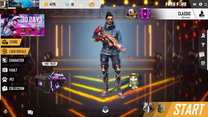 free fire - Riau Taula 46 Lv . 56 4176 18 FREE FIRE * CLASSIC Bermuda 30 DAYS LOGIN REWARDS STORE YOLUCK ROYALE CHARACTER FIRE PASS DI VAULT SPET COLLECTION WE START - ShareChat