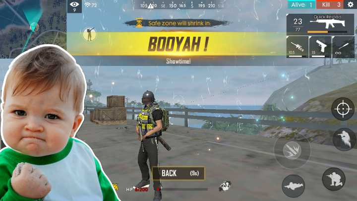 free fire - 272 To ' s Ago se 150 165Ś 195 zio si Alive 1 Kill 3 Quick Reload Safe zone will shrink in : 23 77 BOOYAH ! Showtime ! BACK ( 9 ) HP200 - ShareChat