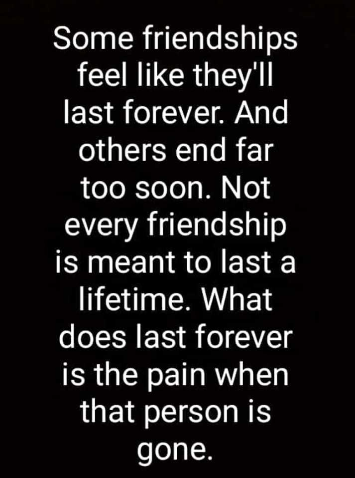 friendship - Some friendships feel like they ' ll last forever . And others end far too soon . Not every friendship is meant to last a lifetime . What does last forever is the pain when that person is gone . - ShareChat