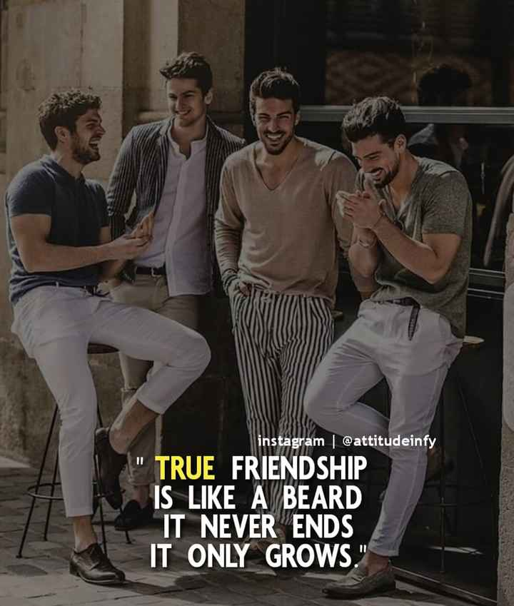 friendship - instagram @ attitudeinfy TRUE FRIENDSHIP IS LIKE A BEARD IT NEVER ENDS IT ONLY GROWS . - ShareChat