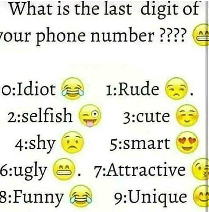fun😝😝 - What is the last digit of Four phone number ? ? ? ? o : Idiot e 1 : Rude . 2 : selfish 0 3 : cute 4 : shy 5 : smart * * 6 : ugly . 7 : Attractive 8 : Funny @ 9 : Unique - ShareChat