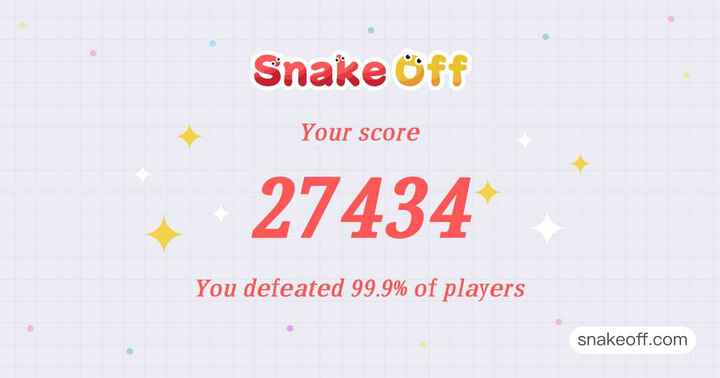 game - Snake Off Your score 27434 You defeated 99 . 9 % of players snakeoff . com - ShareChat