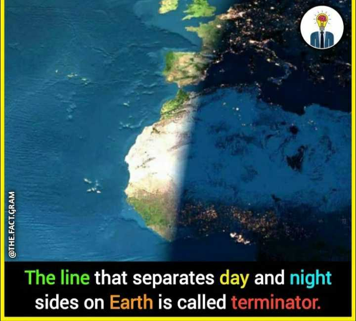 general knowledge - @ THE . FACT . GRAM The line that separates day and night sides on Earth is called terminator . - ShareChat