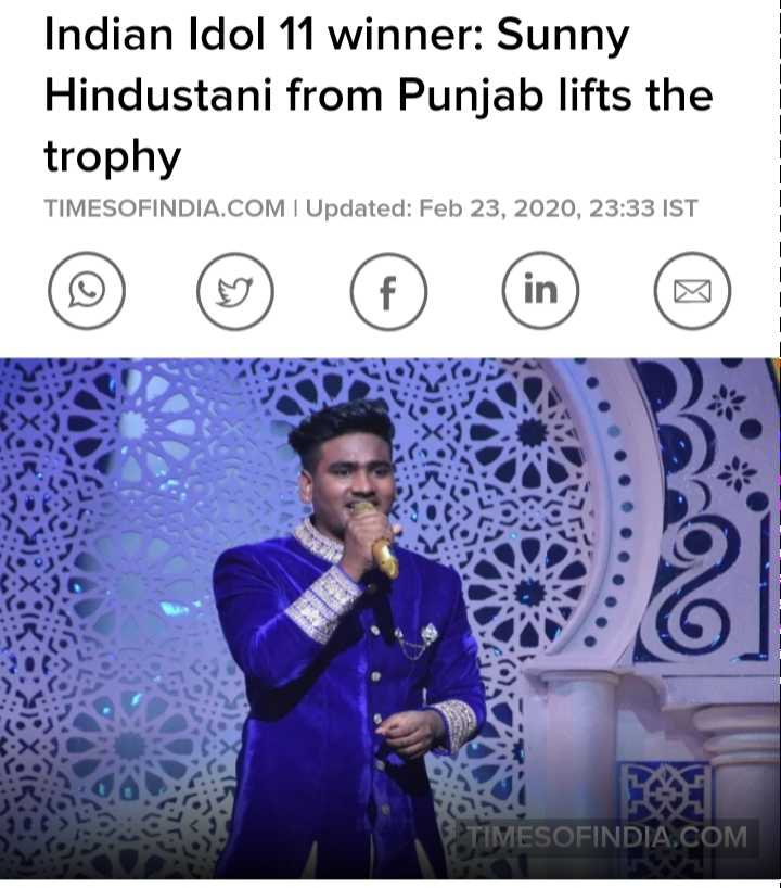 #ghainttt pic - Indian Idol 11 winner : Sunny Hindustani from Punjab lifts the trophy TIMESOFINDIA . COM I Updated : Feb 23 , 2020 , 23 : 33 IST TIMESOFINDIA . COM - ShareChat