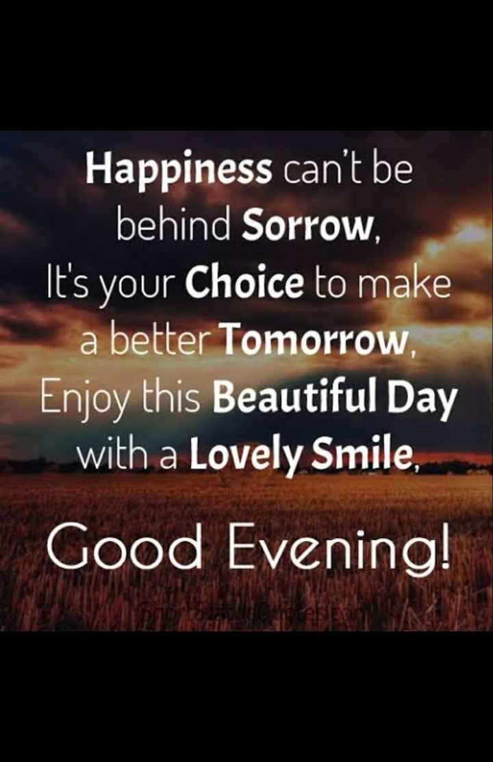 good evening.... - Happiness can ' t be behind Sorrow , It ' s your choice to make a better Tomorrow , Enjoy this Beautiful Day with a Lovely Smile , Good Evening ! - ShareChat