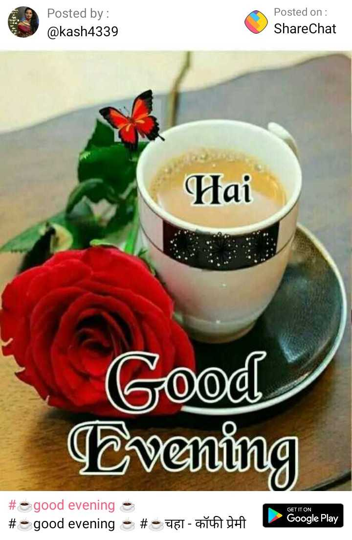 ☕good evening ☕ - Posted by : @ kash4339 Posted on : ShareChat Hai Good Evening GET IT ON # good evening e # good evening - # - 7161 - Cho Google Play - ShareChat