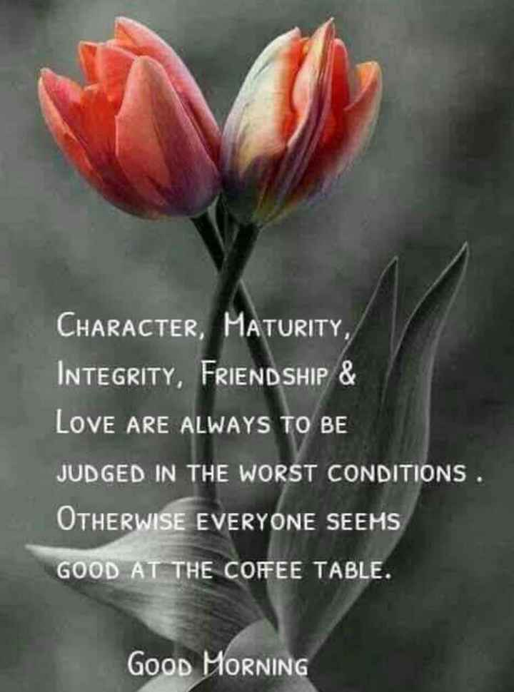 good morning.... - CHARACTER , MATURITY , INTEGRITY , FRIENDSHIP & LOVE ARE ALWAYS TO BE JUDGED IN THE WORST CONDITIONS . OTHERWISE EVERYONE SEEMS GOOD AT THE COFEE TABLE . GOOD MORNING - ShareChat