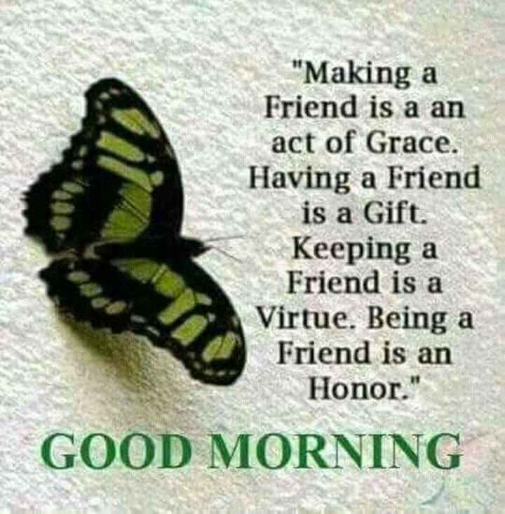 good morning 🌞 - Making a Friend is a an act of Grace . Having a Friend is a Gift . Keeping a Friend is a Virtue . Being a Friend is an Honor . GOOD MORNING - ShareChat